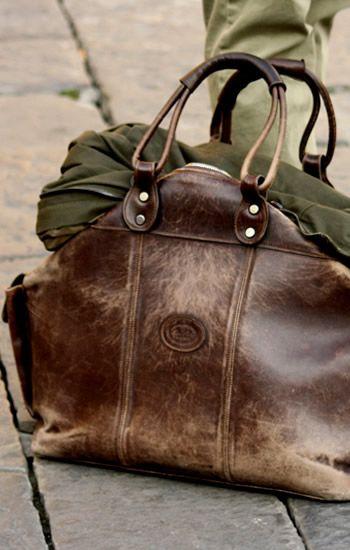 worn leather bag