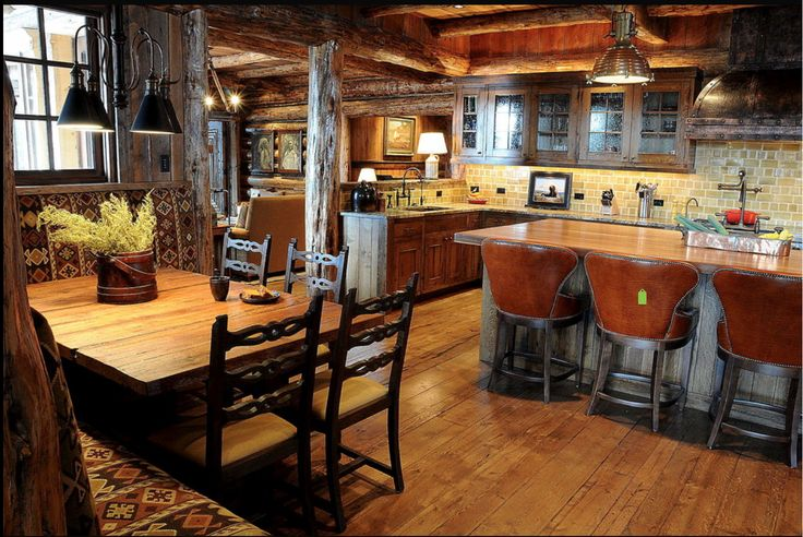 Cozy Mountain House Kitchen Open Plan Decorating Ideas