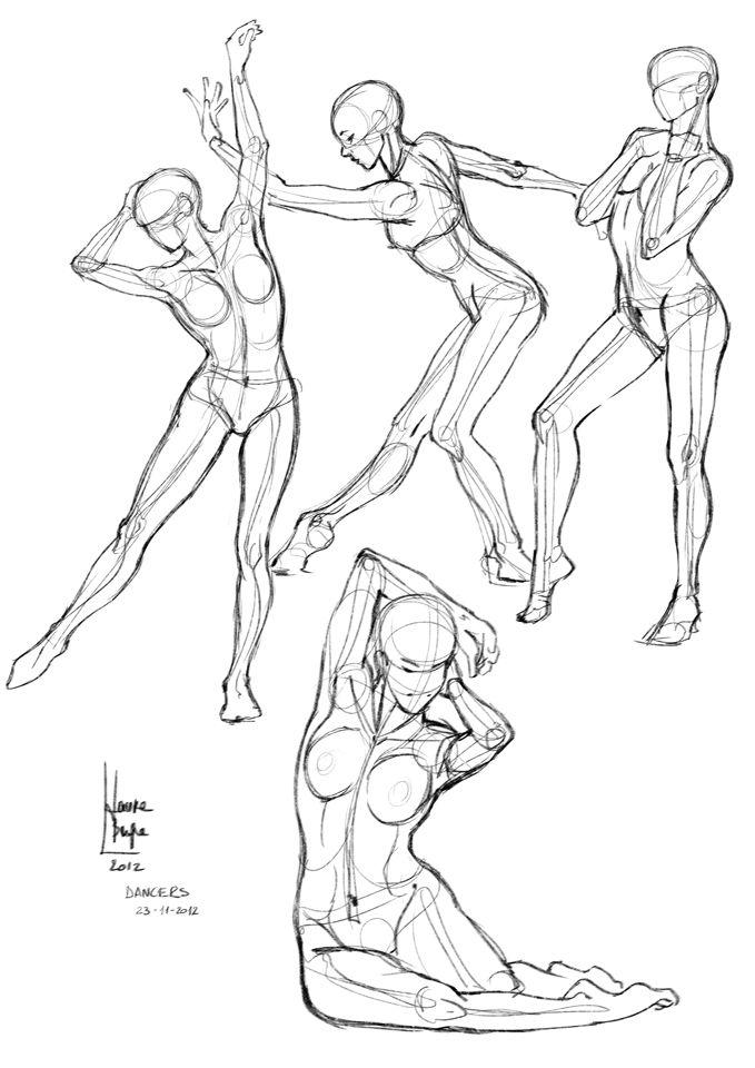 Рисунок поза в танце