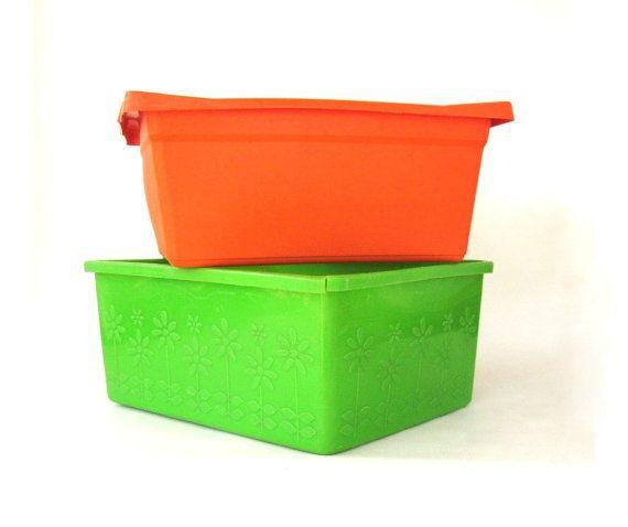 Plastic Dishpan Wash Tub Lime Green Orange by LaurasLastDitch, $16.99