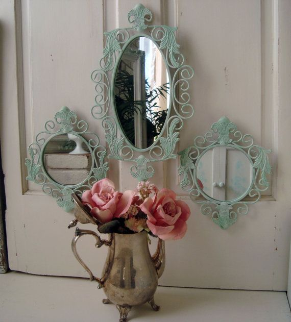 Green Mirror Set, Set of 3 Ornate Mirrors, Light Green Oval Mirror, Round Mirrors, Beach Cottage, Fleur De Lis, Shabby Chic,  Up Cycled on Etsy, $31.46