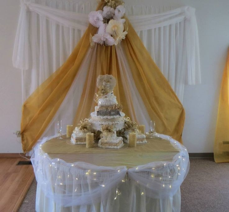 Cake table 50th wedding anniversary pinterest for Decoration 50th wedding anniversary