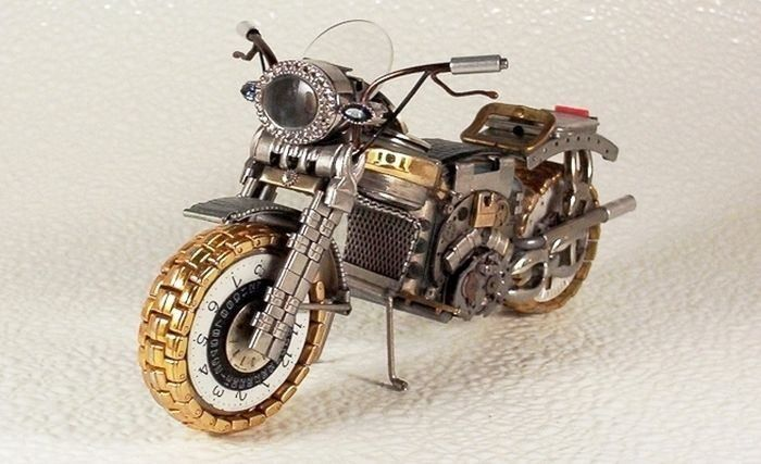 "Motorbike made of parts of watches | ""Stolen"" Pins 