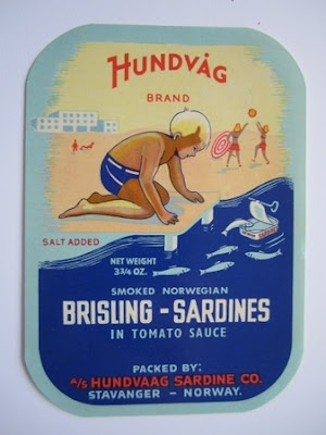 A small sample of Norwegian Sardine tin labels via kickcan & conkers
