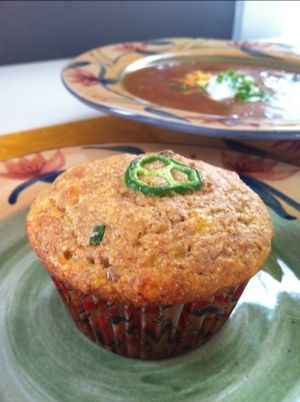 Spicy Bacon Cheddar Chive Corn Muffins, 160 calories each- mmm.