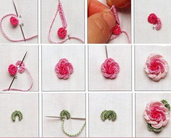 Вышивка цветами из ниток