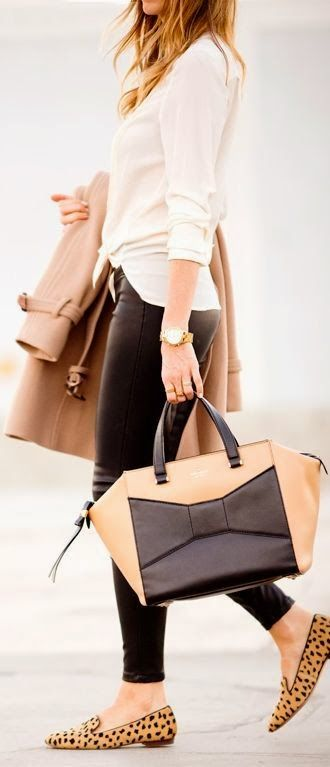 white shirt with leather pants leather handbag with leopard sleepers