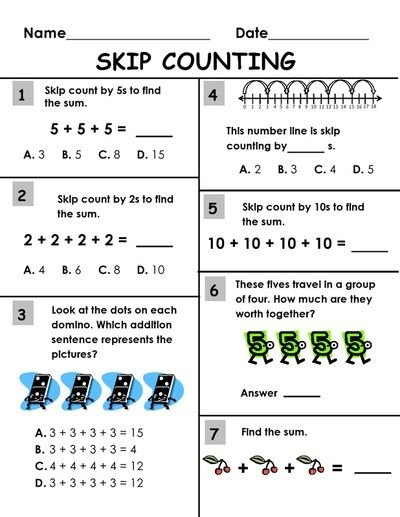 Skip Counting Packet: 2s, 3s, 5s, 10s and 100s Worksheet Printables ...