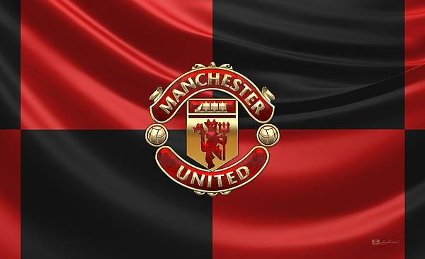 Manchester United F C D Badge Over Flag Fine Art Print