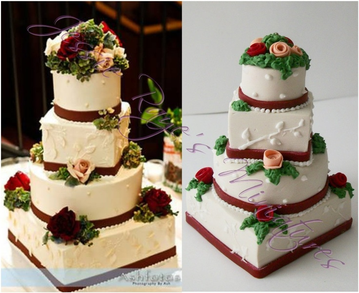 Miniature Wedding Cake Replica Ornament