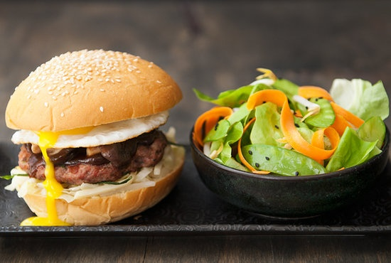 ... pork combine for a delectable mushu pork inspired burger source use