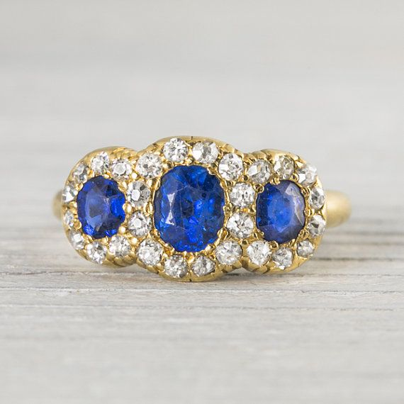 Antique Victorian Gold Diamond & Sapphire Engagement Ring