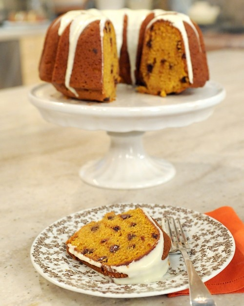 Pumpkin-Spice Cake With Chocolate Chips Recipe — Dishmaps
