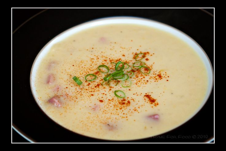 Leek and potato soup with ham. I'm already looking forward to fall ...