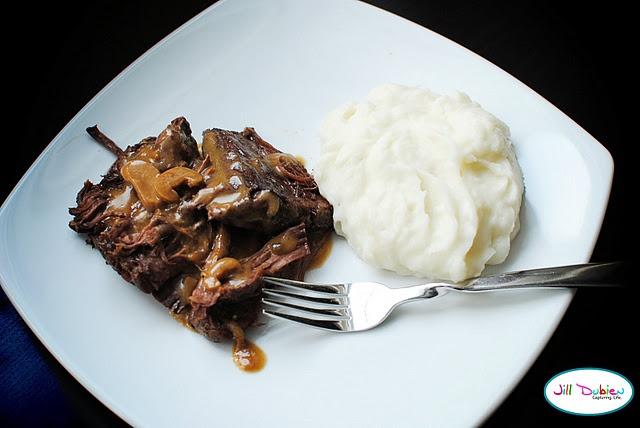 Easy crock-pot roast roast 2 cans Cream of Mushroom soup 1 1/4 cups of ...
