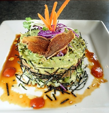 Yardhouse Spicy Tuna Roll: Edamame, seared ahi, avocado, cucumber with ...