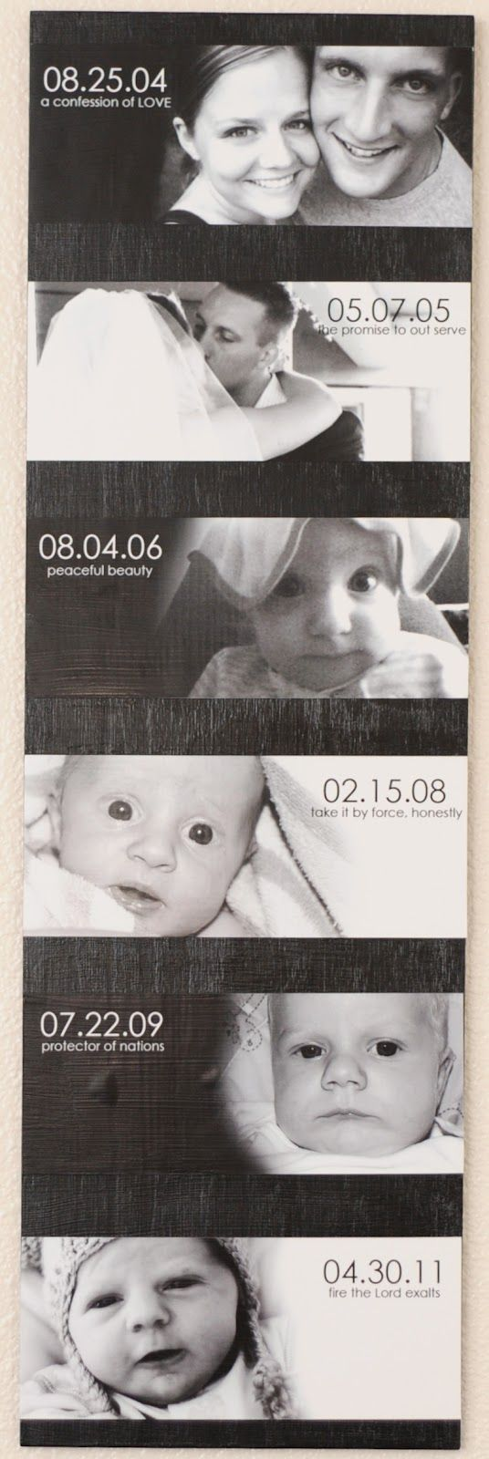 combining Most Important dates in life with photos - I love how they used the meaning of the kids' names in the pictures