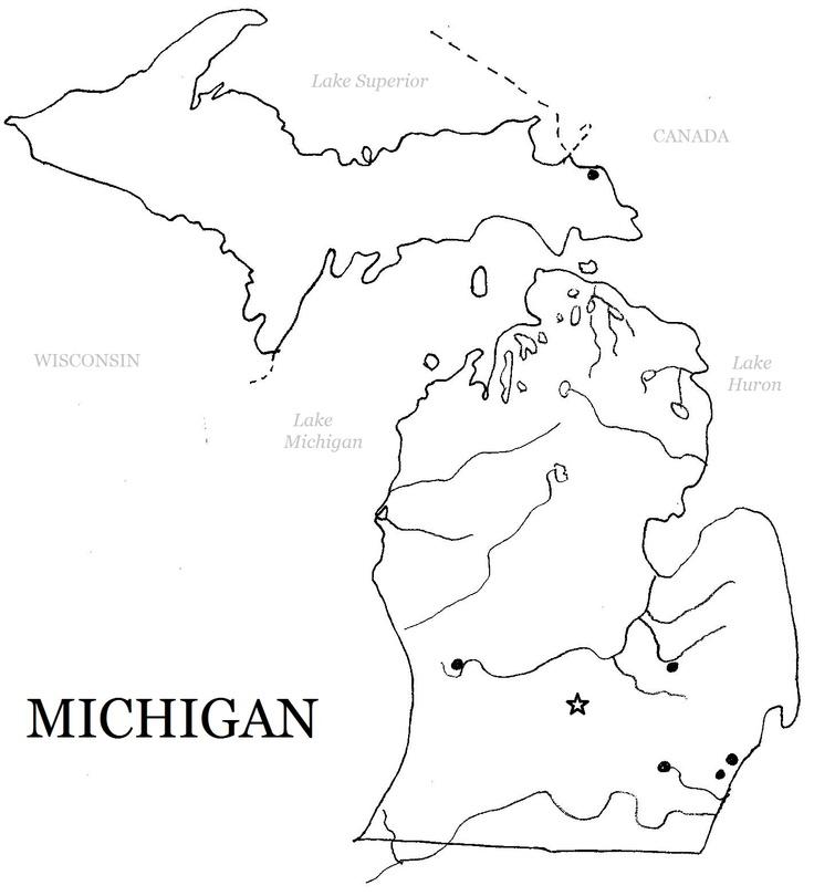 Printable Michigan Map For Art Ideas  Fun Art