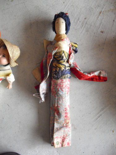 Vintage-Cloth-over-Wood-Thin-Asian-Woman-Character-Doll-15-Tall
