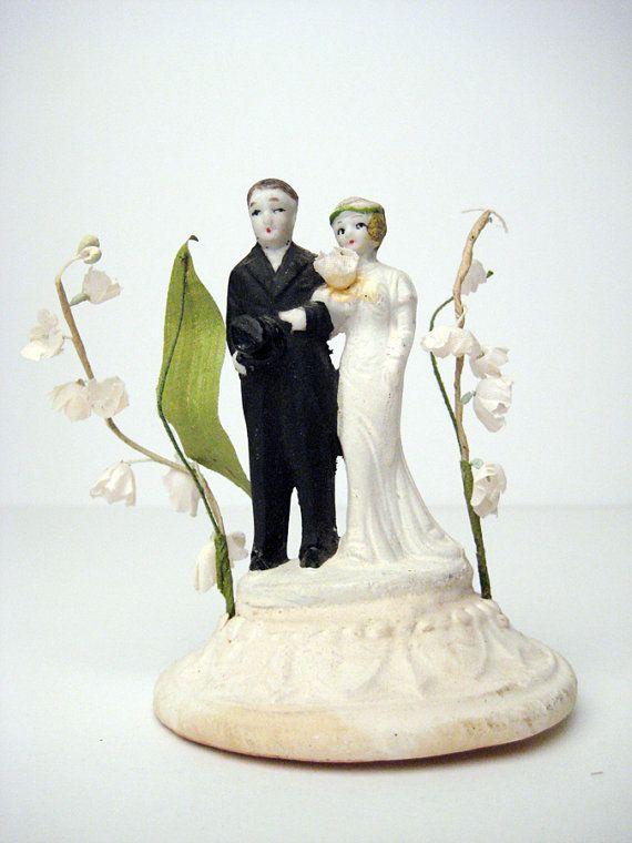 Vintage wedding cake topper 20s 30s by vintageboxfashions 39 00