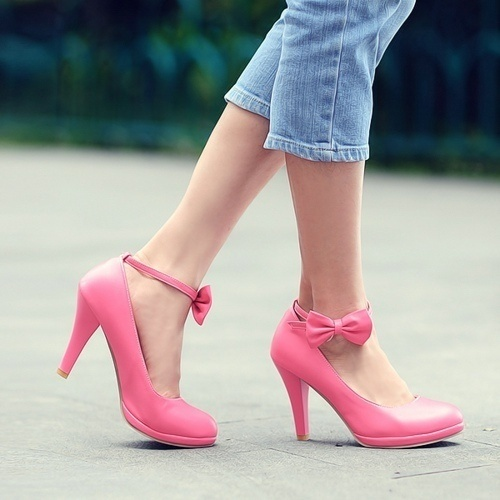 Women's Comfortable Strappy Pumps PU Leather Cute Bow Platform Shoes