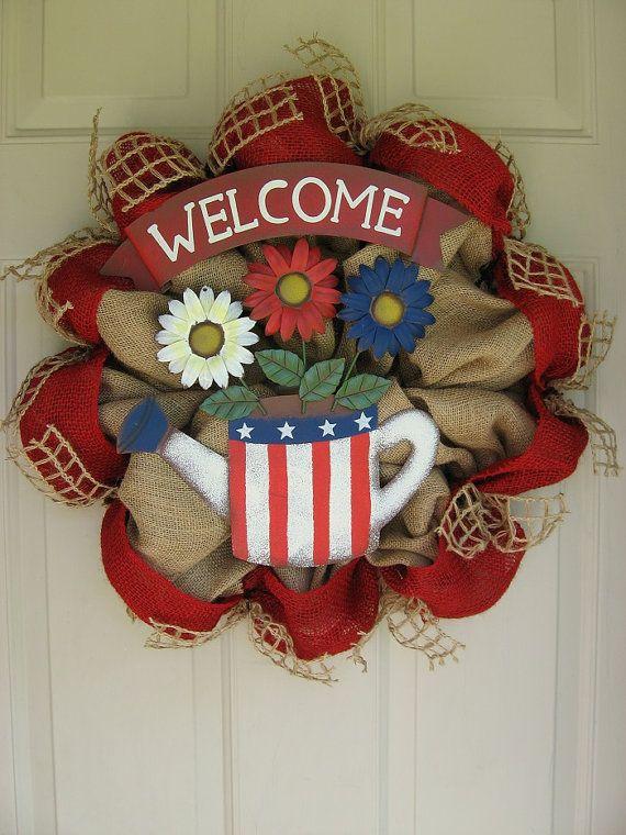 fourth of july burlap wreath