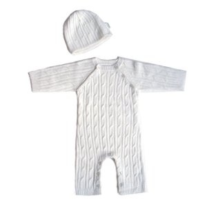Tadpoles Cable Knit Romper and Hat Set, 0-3 Month