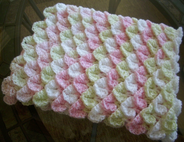 Very Soft Crochet Baby Blanket, Photo Prop, Crocodile ...