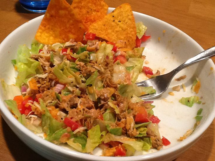 chicken taco salad... romaine hearts, red onion, red bell pepper, sour ...
