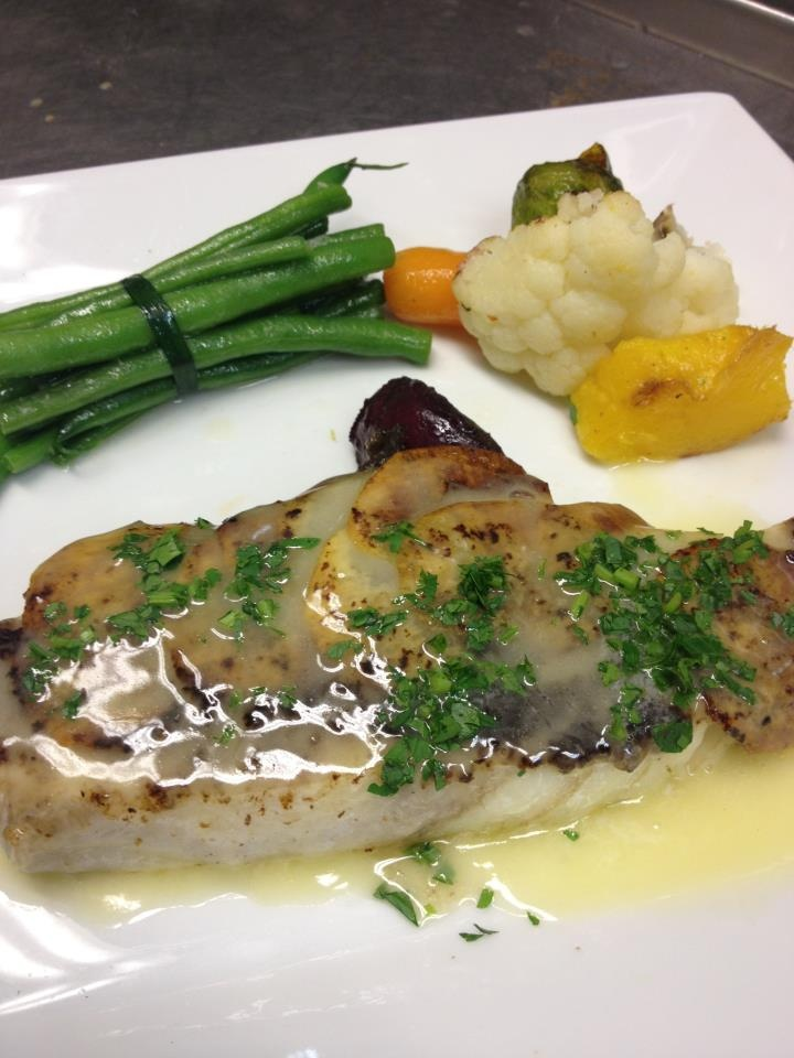 Potato Crusted Halibut topped with a mushroom puree and lemon butter ...