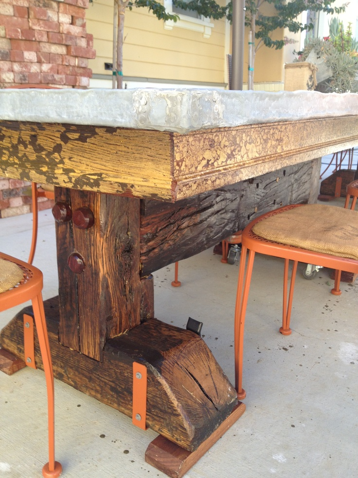 Railroad tie table leg diy table inspiration pinterest for Cool coffee tables built out of railroad ties