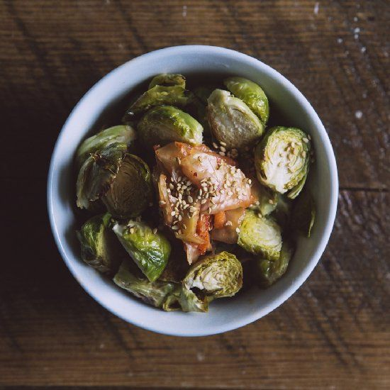 ... brussel sprouts tossed with local kimchi, carrots and sesame seeds