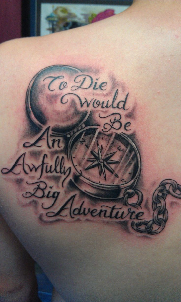 45 amazing peter pan tattoos for To die would be an awfully big adventure tattoo