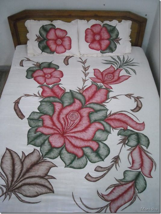 Fabric painting flower pattern craft inspirations for Using fabric paint on glass
