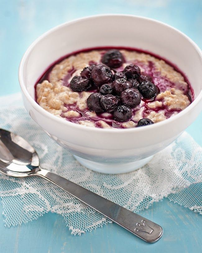 Coconut oatmeal with blueberry compote. Use fresh blueberries and ...
