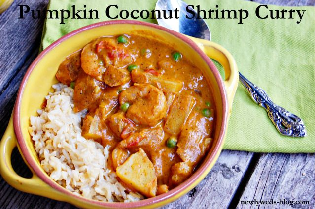 Pumpkin Coconut Shrimp Curry- omit potatoes and peas, extra curry, add ...