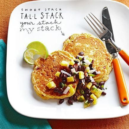 Mexican Cornmeal Pancakes with Black Bean and Pineapple Salsa | Recipe