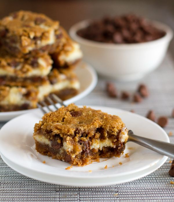 Peanut Butter Chocolate Chip Cookie Cheesecake Bars - I curse you ...