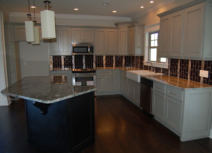 gray cabinets with black island kitchens pinterest