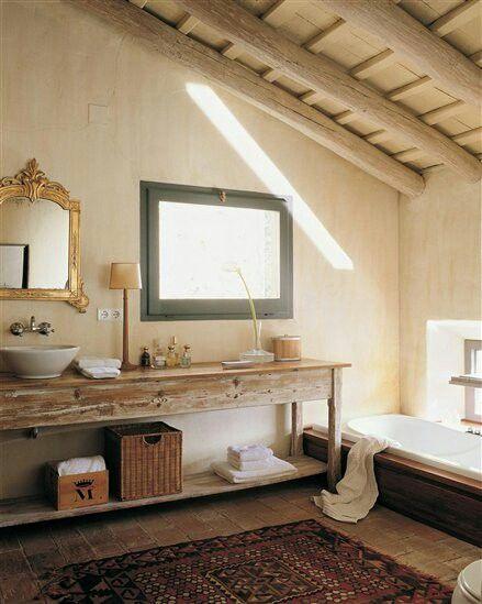 Mueble ba o rustico blanco - Cuarto bano rustico ...