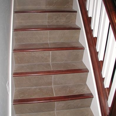 Tile and wood staircase stairs tile pinterest - Stairs with tile and wood ...