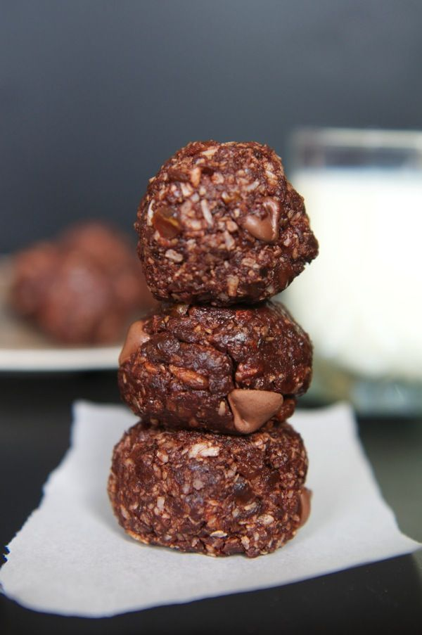 Chocolate Coconut Bites • G/F : contain dates, coconut flakes, cacao ...