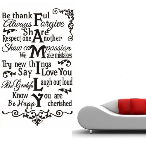 Family quote wall art living room vinyl mural decor for Living room quotes sayings