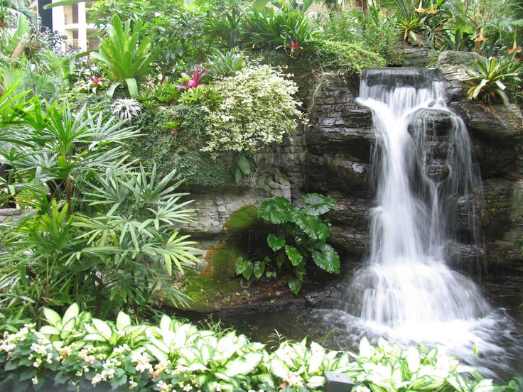 Constructing a garden waterfall