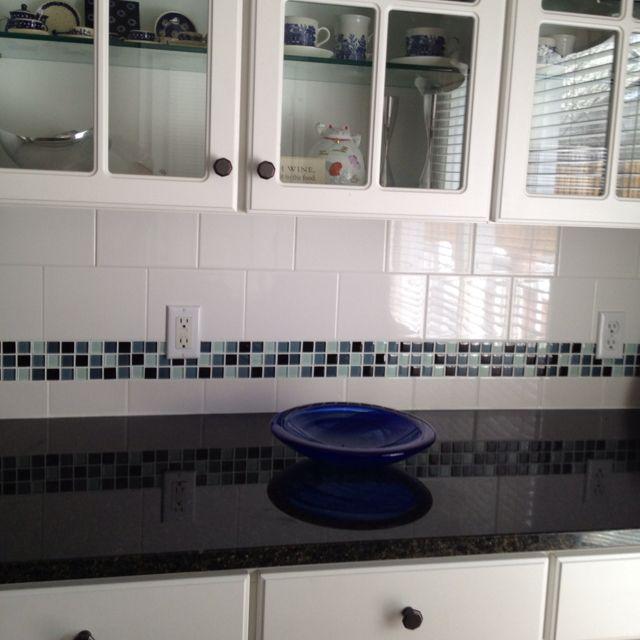 glass tile border on backsplash uba tuba granite