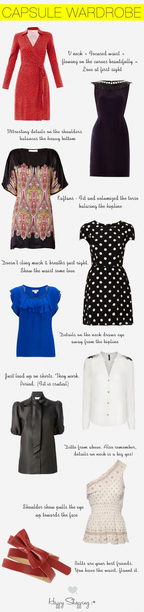 capsule wardrobe and shopping guide for pear shaped women. these are the styles of dresses and blouses that flatter you and we tell you why!