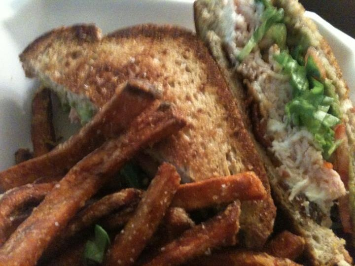 sandwich from Room 38. Spring greens, dried cranberries, walnuts, feta ...