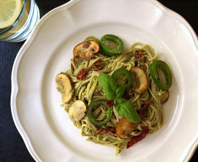 Basil Walnut Pesto with Mushrooms, Jalapeno's & Sun-Dried Tomatoes ...