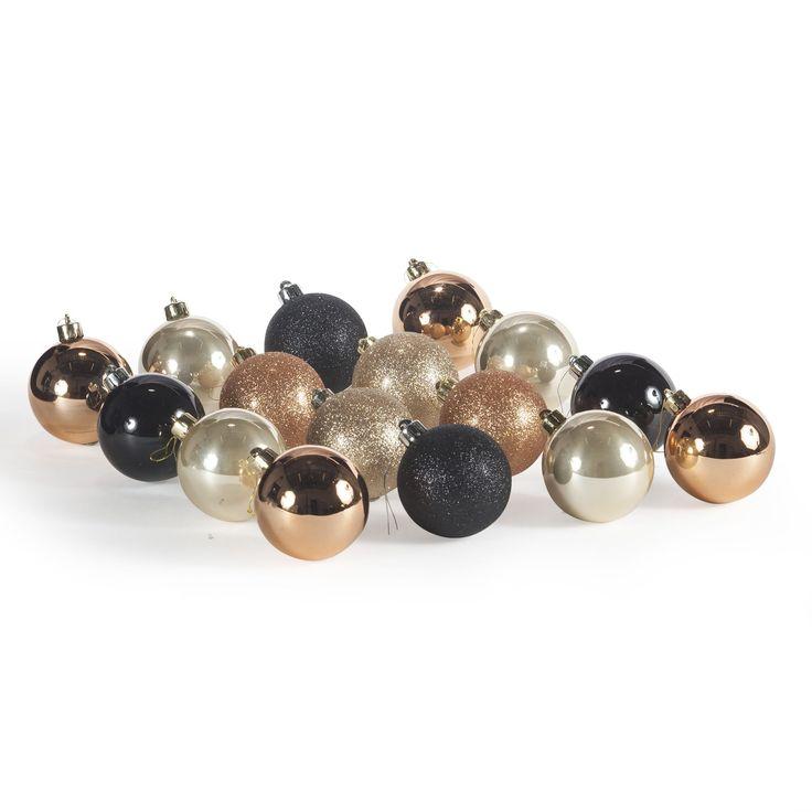 Lot de 16 boules en plastique coloris or, cuivre et noir Assortie - Black Snow - Les boules de Noël - Les décorations du sapin - Noël - Décoration d'intérieur - Alinéa