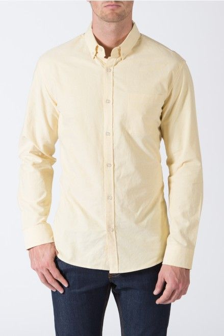 {Son and Heir} Modern Oxford Shirt in Golden Hour. Fit: Slim Fit Fabric: 100% Cotton Cut: Slim Fit Rise:  Color: Yellow